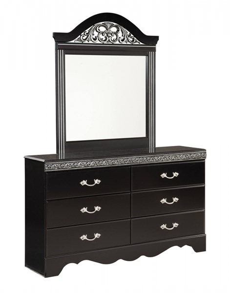 Odessa Traditional Black Wood Handle Dresser And Mirror std-695-BL-DRMR