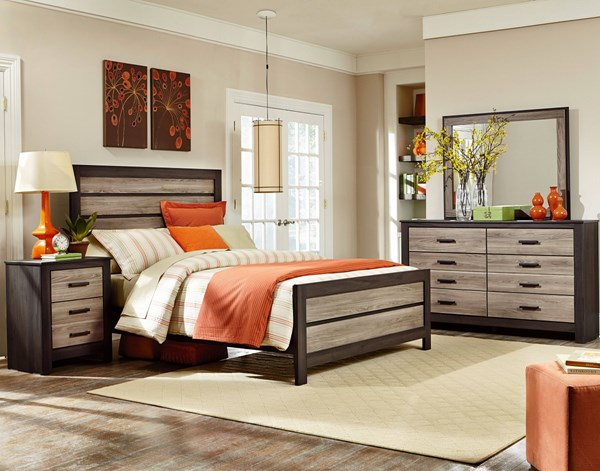 Freemont Transitional Oak Gray Wood 2pc Bedroom Set W/King Panel Bed std-69750-BR-S2