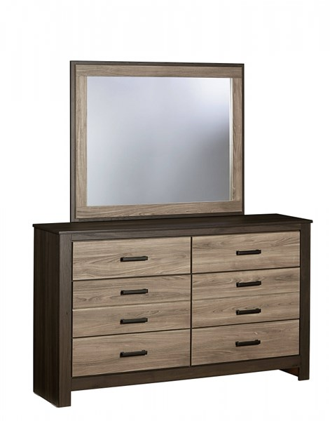 Freemont Transitional Oak Gray Wood Glass Panel Mirror STD-69768