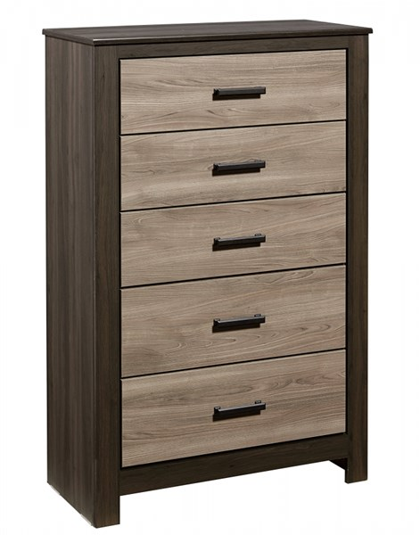 Freemont Transitional Oak Gray Wood 5 Drawers Chest STD-69755