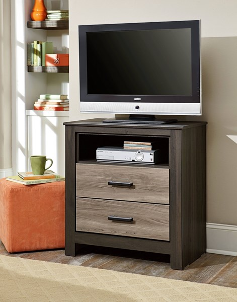 Freemont Transitional Oak Gray Wood TV Chest STD-69756