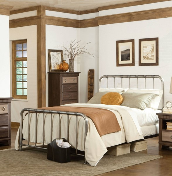 Tristen Transitional Antique Pewter Twin Metal Bed std-875-TMB