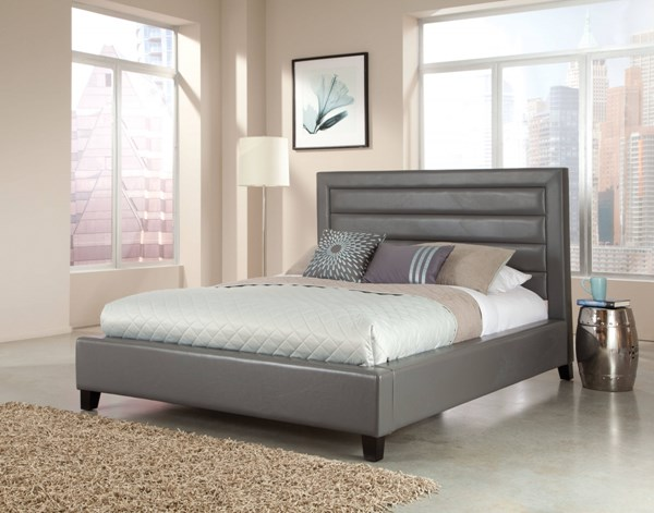 Reaction Modern Grey PU King Upholstery Bed std-9900-GRKB