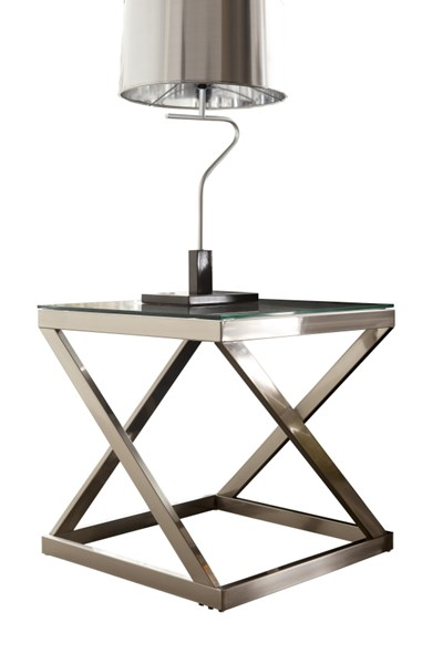 Coylin Casual Brushed Nickel Glass Metal End Table T136-2