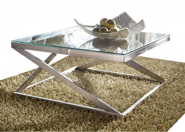 Coylin Casual Brushed Nickel Glass Metal Cocktail Table T136-8