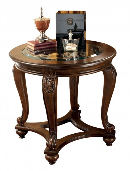 Norcastle Traditional Dark Brown Wood Glass End Table T499-6