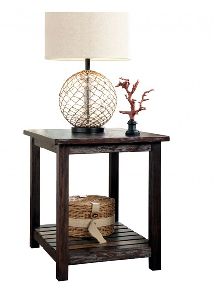 Ashley Furniture Mestler Brown Rectangular End Table The