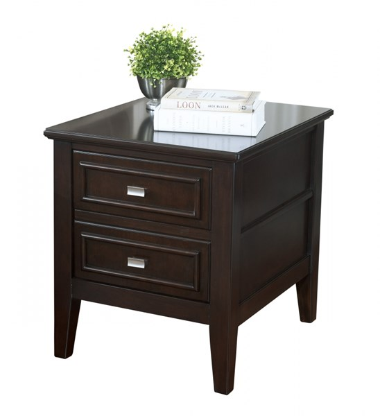 Larimer Contemporary Dark Brown Wood Square End Table T654-2