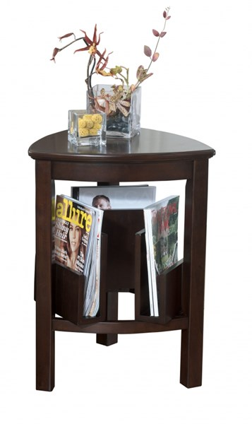Larimer Contemporary Dark Brown Wood Triangle End Table T654-6