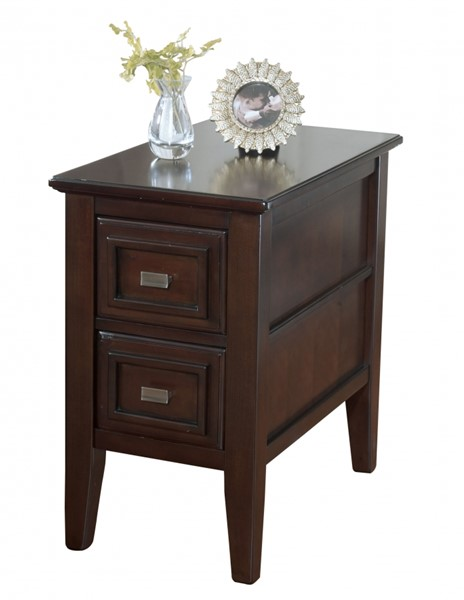 Larimer Contemporary Dark Brown Wood Chairside End Table T654-7