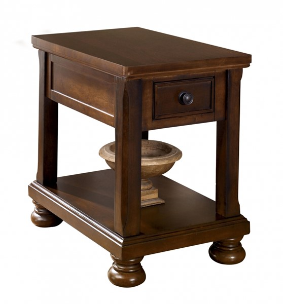 Porter Traditional Rustic Brown Wood Chair Side End Table W/Storage T697-3