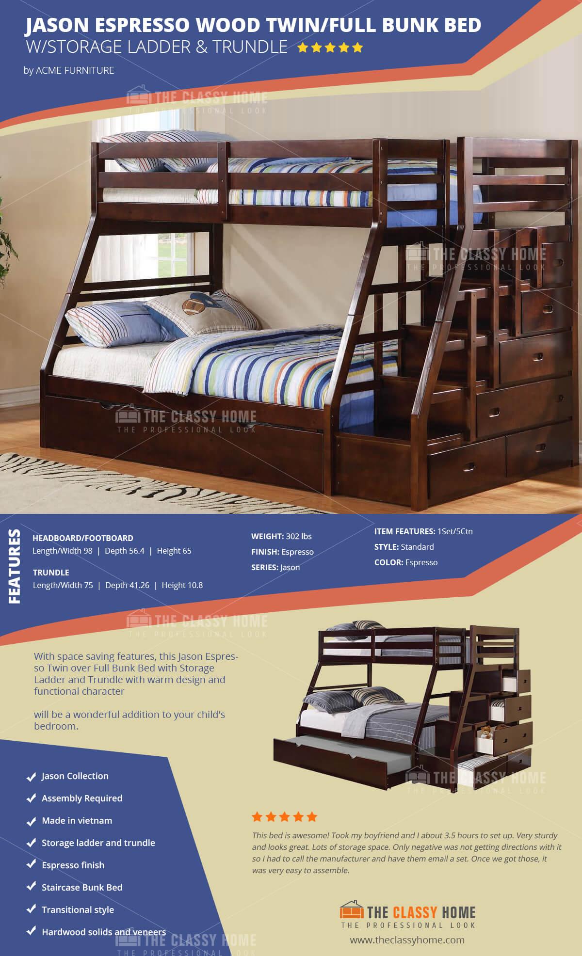 Acme Furniture Jason Espresso Storage Ladder and Trundle Bunk Bed & Acme Furniture Jason Espresso Storage Ladder and Trundle Bunk Bed ...
