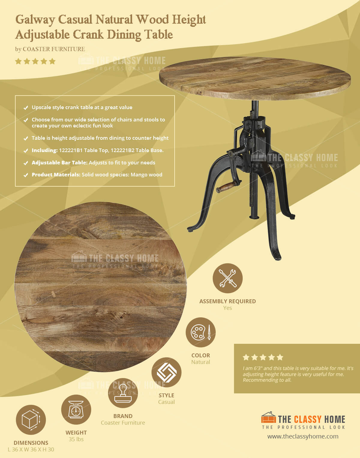 Office furniture galway - Galway Casual Natural Wood Height Adjustable Crank Dining Table Kitchen Dining Bars The Classy Home Best Deal Furniture