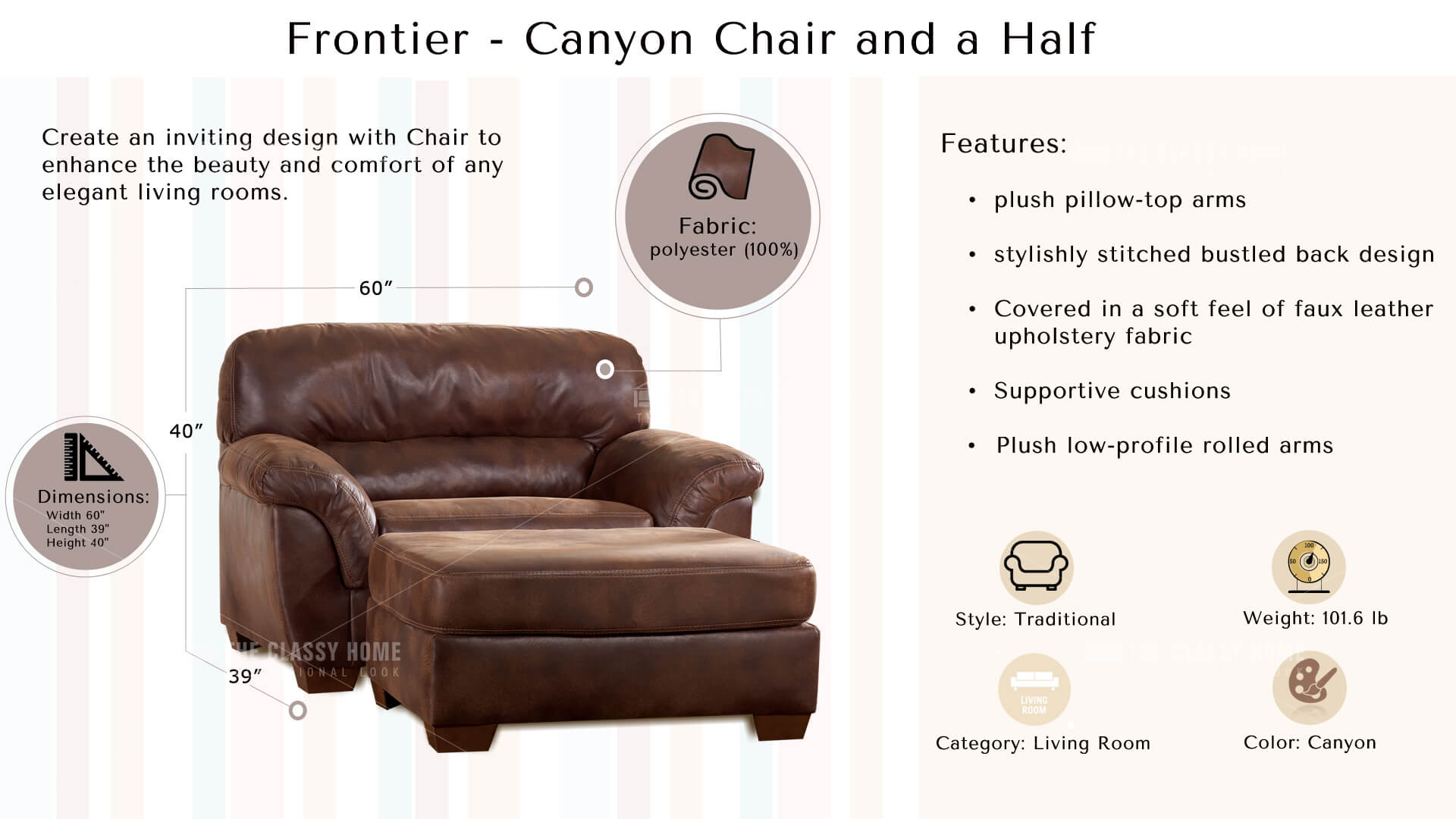 Frontier Casual Canyon Faux Leather Wood Chair And A Half