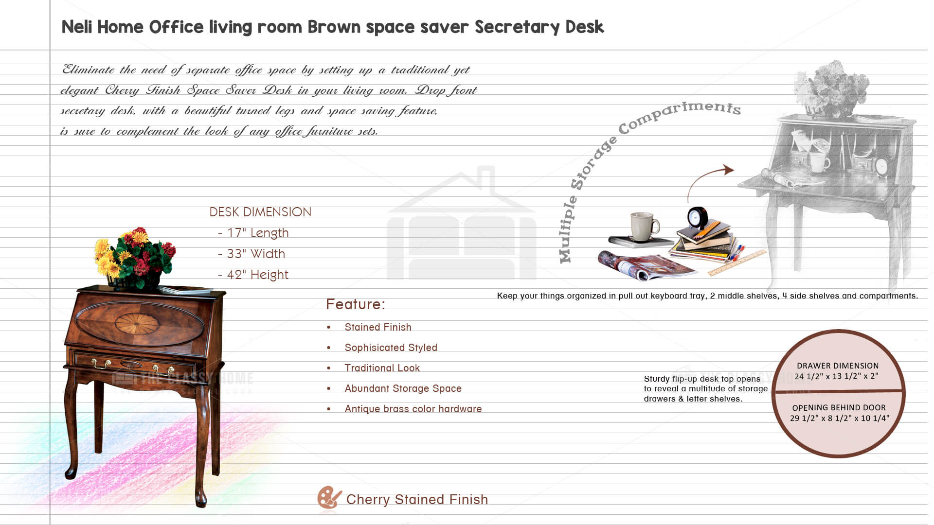 Zebra Furniture Neli Brown Space Saver Secretary Desk
