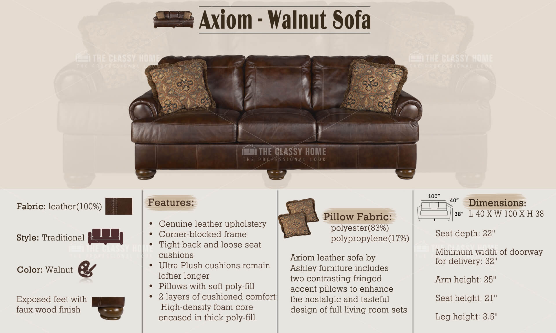 Ashley Furniture Axiom Walnut Sofa The Classy Home