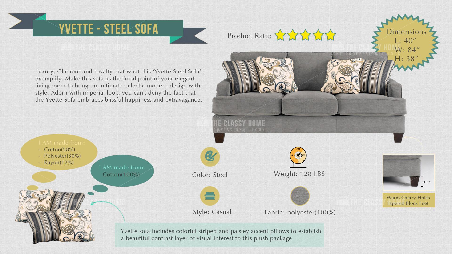 Yvette Casual Steel Gray Fabric Cushion Back Sofa