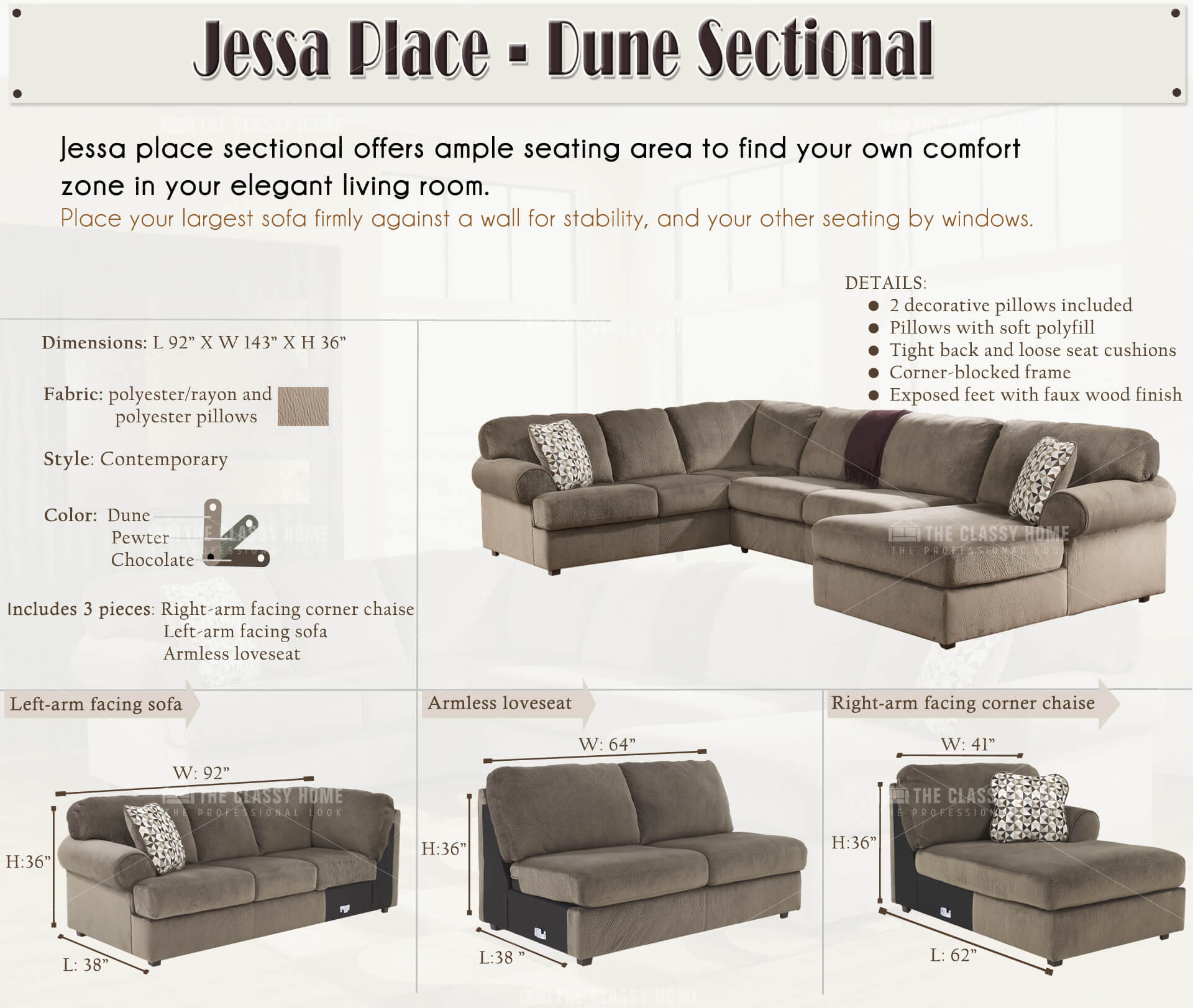 pantego sectional fascinating by sofas raf size with image design chaise place piece sofa dune jessa for furnitureusa of klaussner full