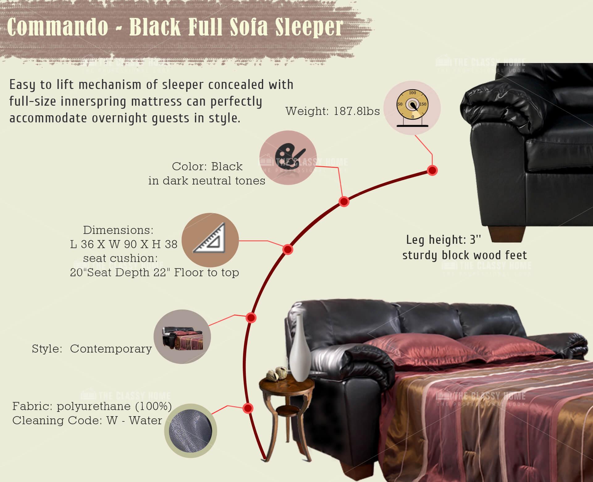 Commando Contemporary Black Faux Leather Full Sofa Sleeper The