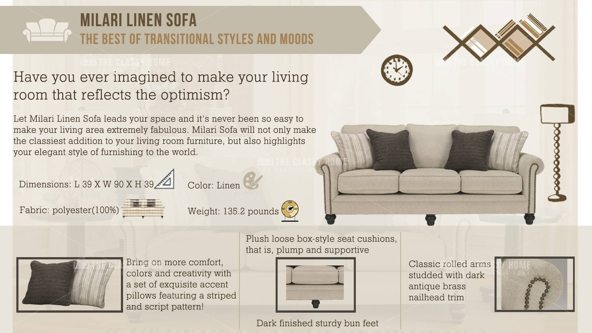 Ashley Furniture Milari Linen Sofa