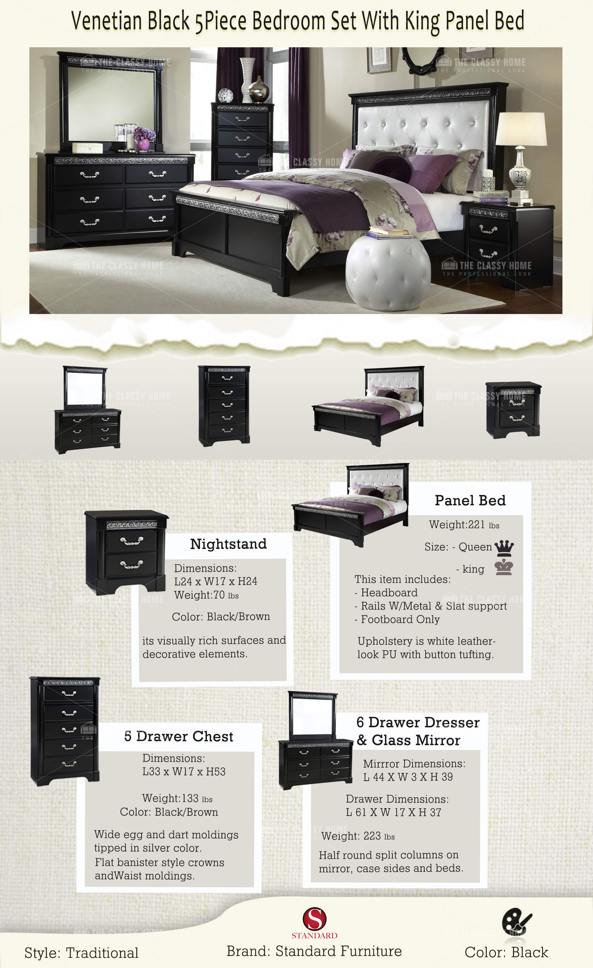 Venetian Black 5Pc Bedroom Set W/King Panel Bed | The Classy Home