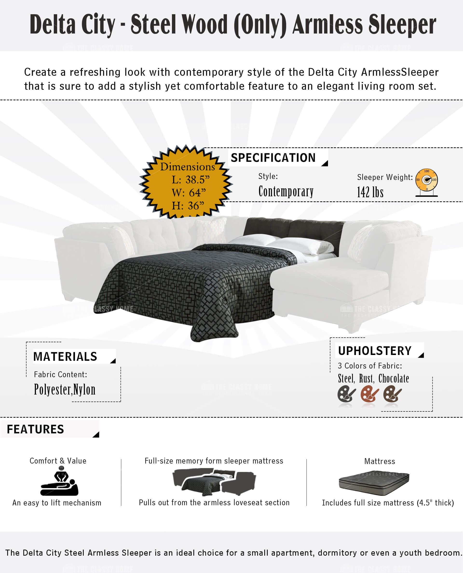 Surprising Ashley Furniture Delta City Armless Sleeper Beatyapartments Chair Design Images Beatyapartmentscom