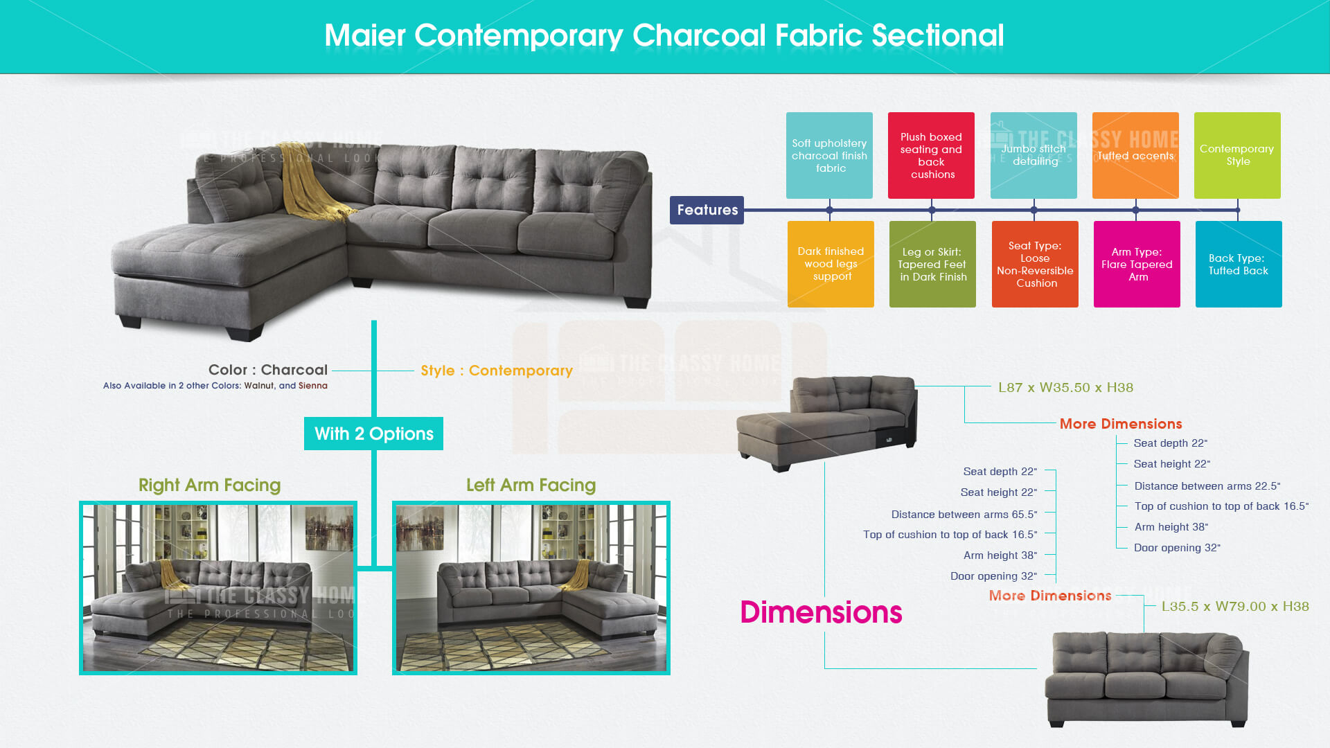 Ashley Furniture Maier Charcoal RAF Chaise Sectional