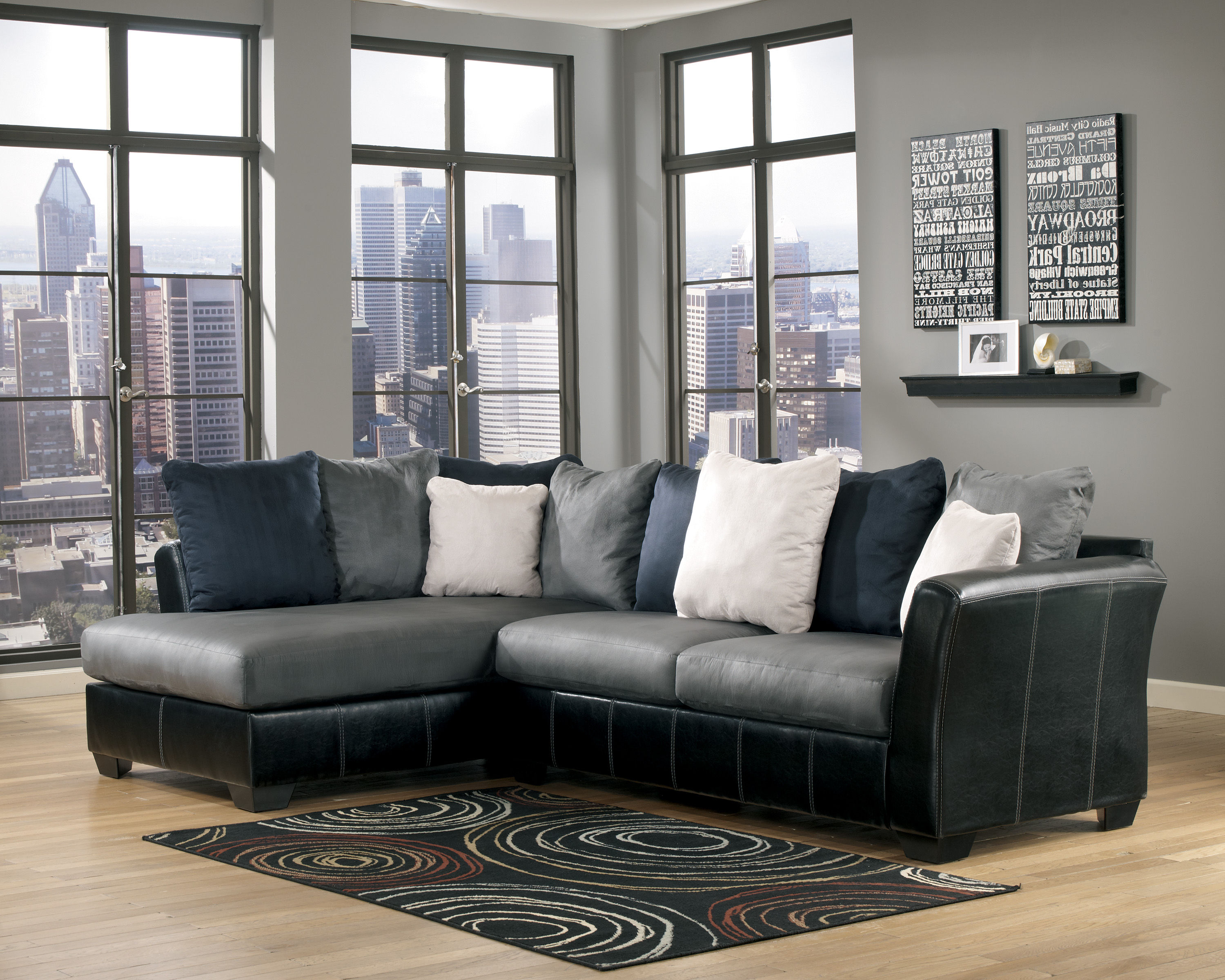 leather shown chocolate as benchcraft colors sectionals open reclining add sectional series