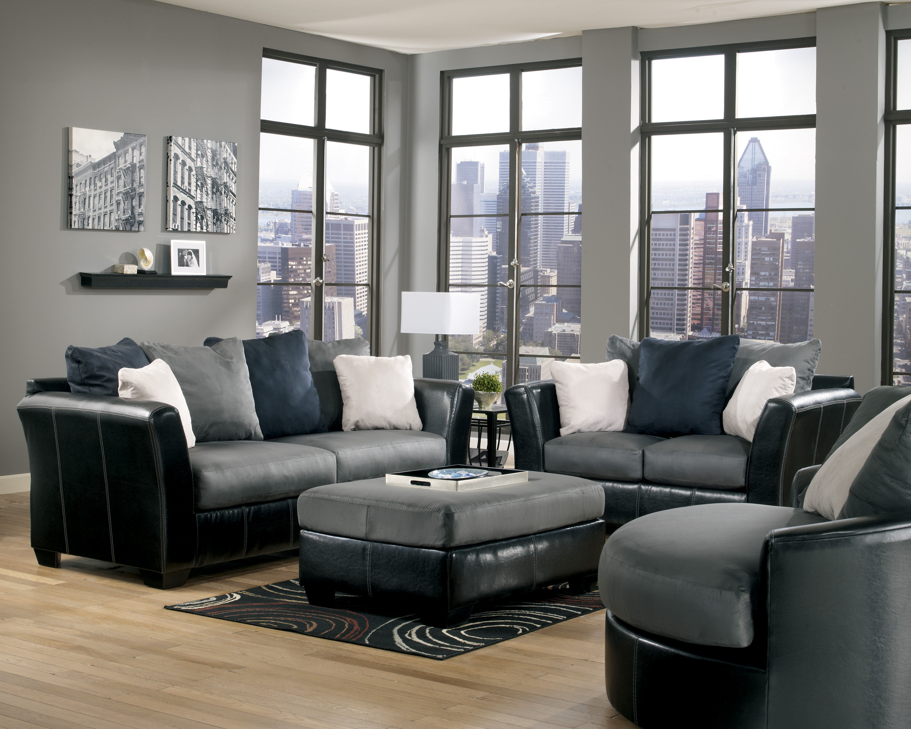 Cobblestone mocha faux leather fabric living room set for Leather and fabric living room sets