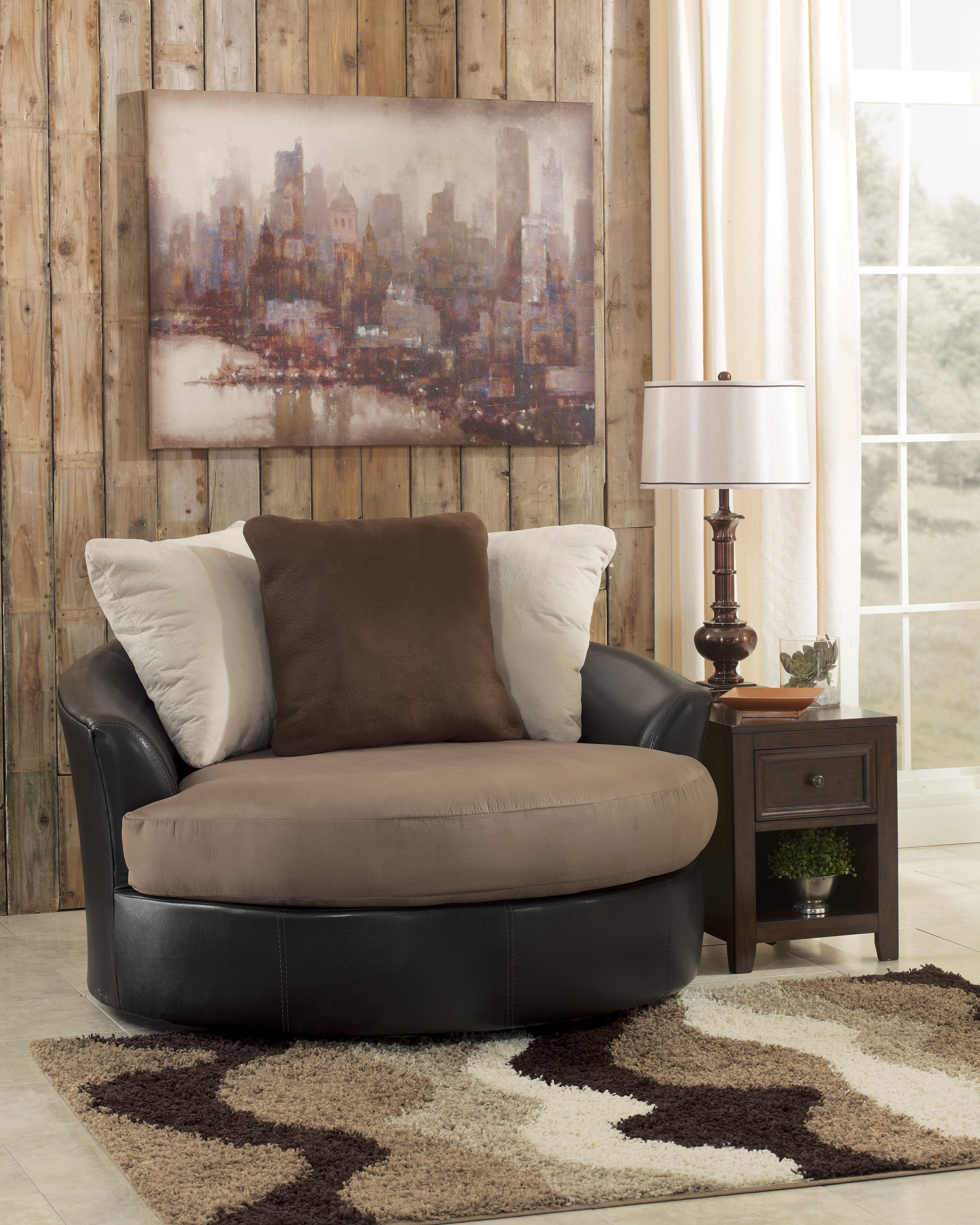 Masoli Mocha Faux Leather Fabric Oversized Swivel Accent Chair