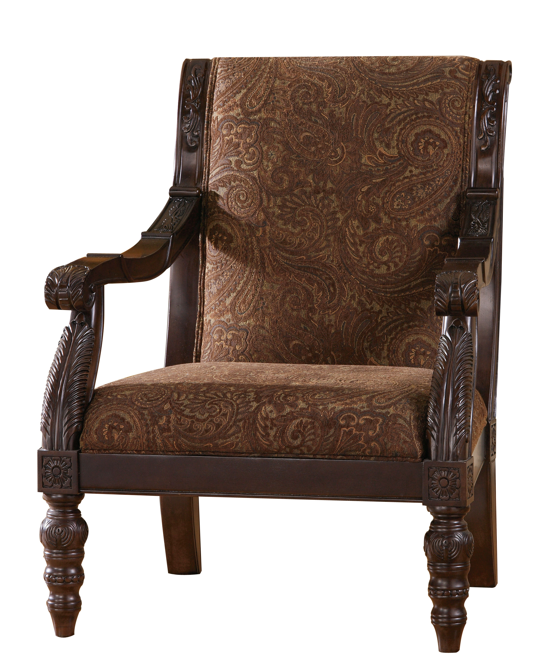 Traditional accent chairs - Bradington Traditional Truffle Fabric Accent Chair Click To Enlarge