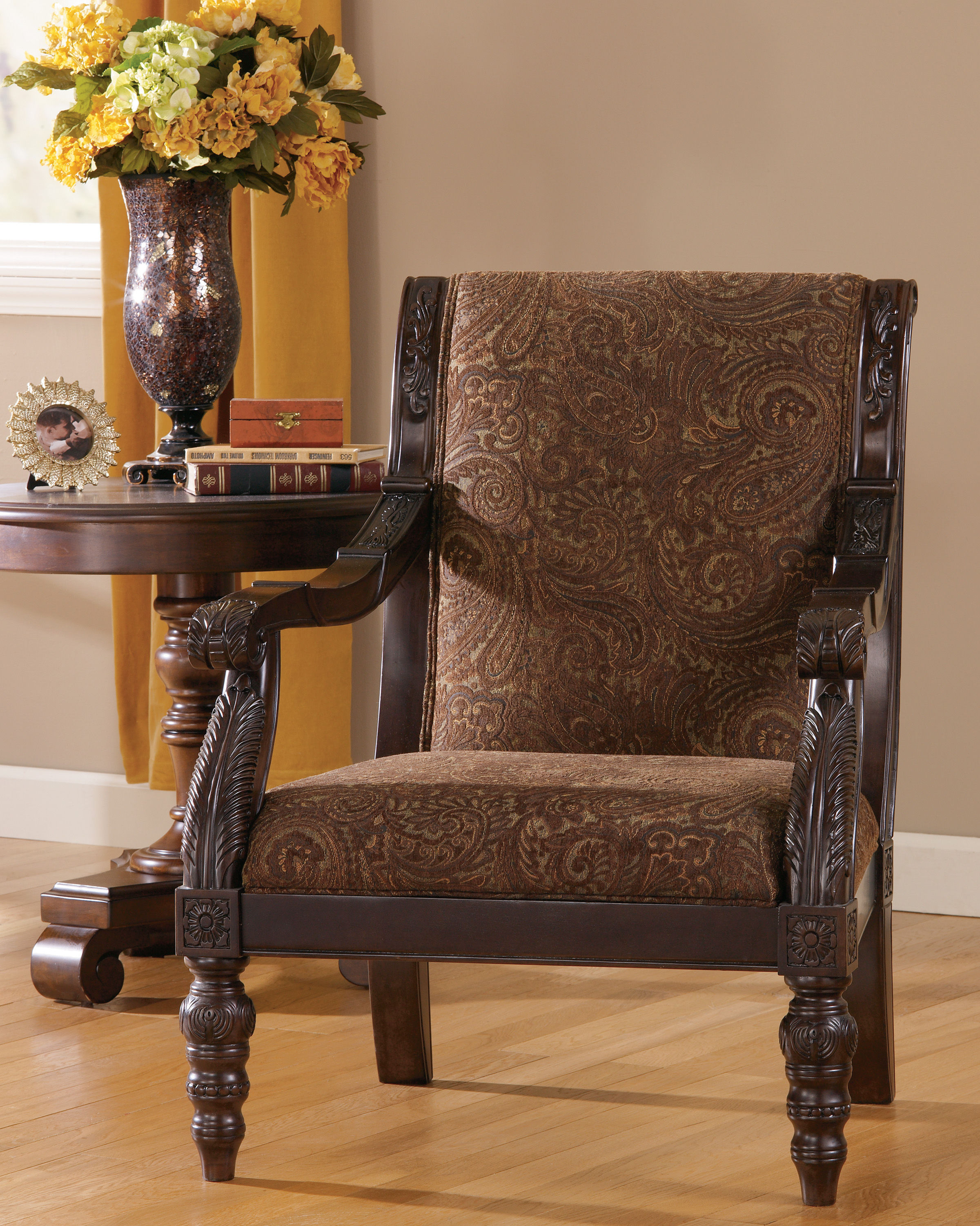 Traditional accent chairs - Bradington Traditional Truffle Fabric Accent Chair Click To Enlarge Click To Enlarge