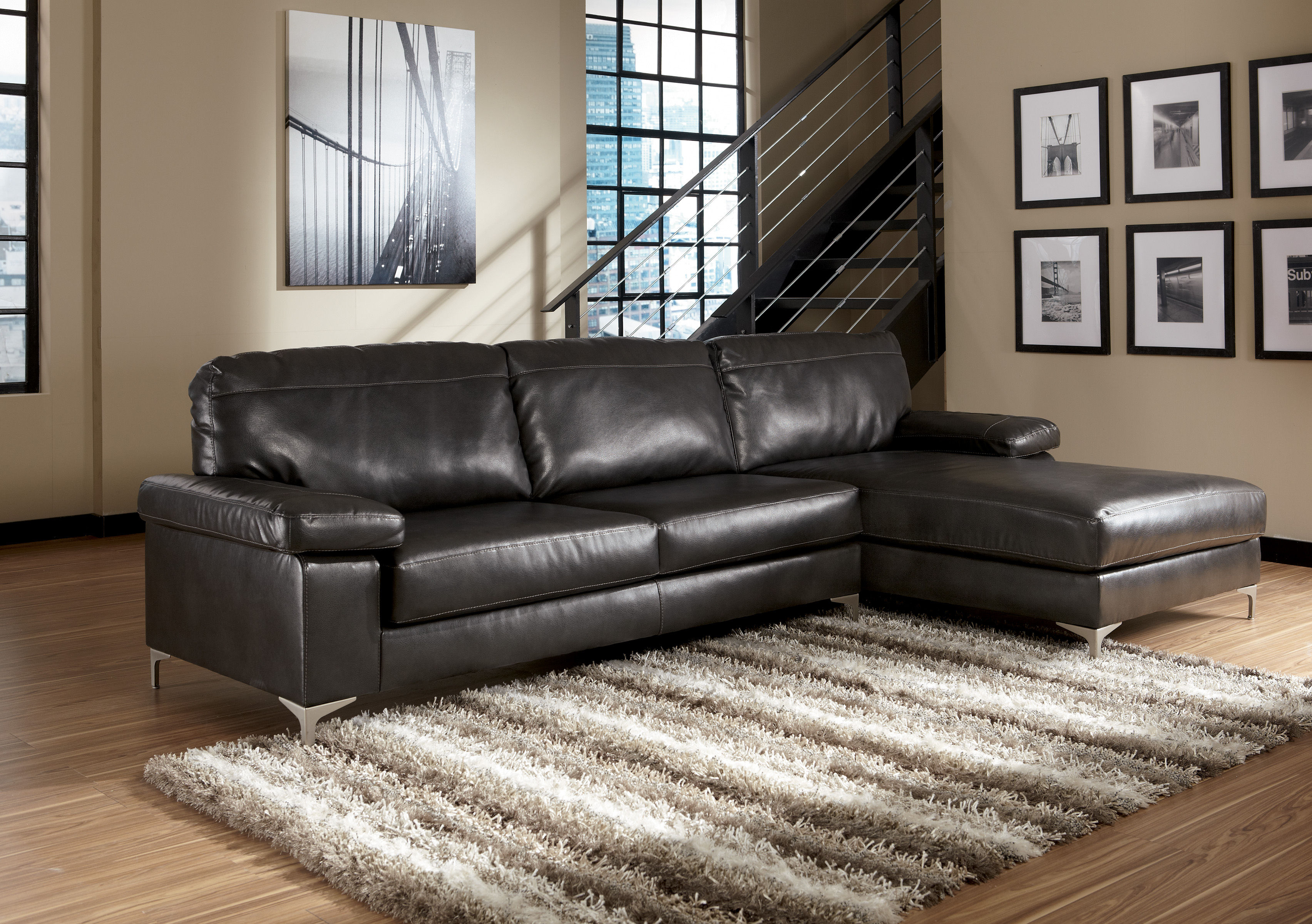 Elgan durablend charcoal sectional right side chaise for Ashley durablend chaise