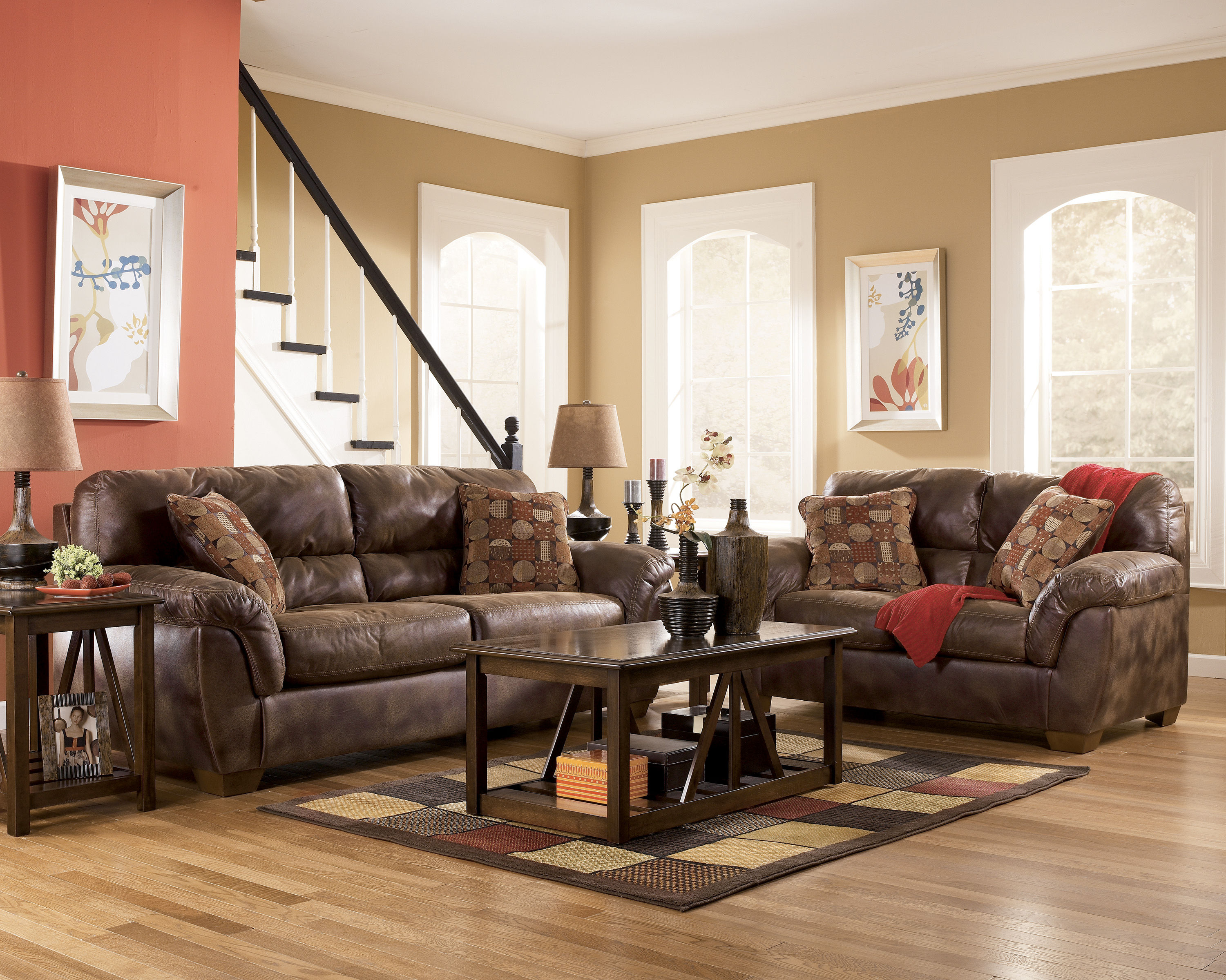 Frontier Traditional Canyon Faux Leather Wood Living Room Set The Classy Home The Classy
