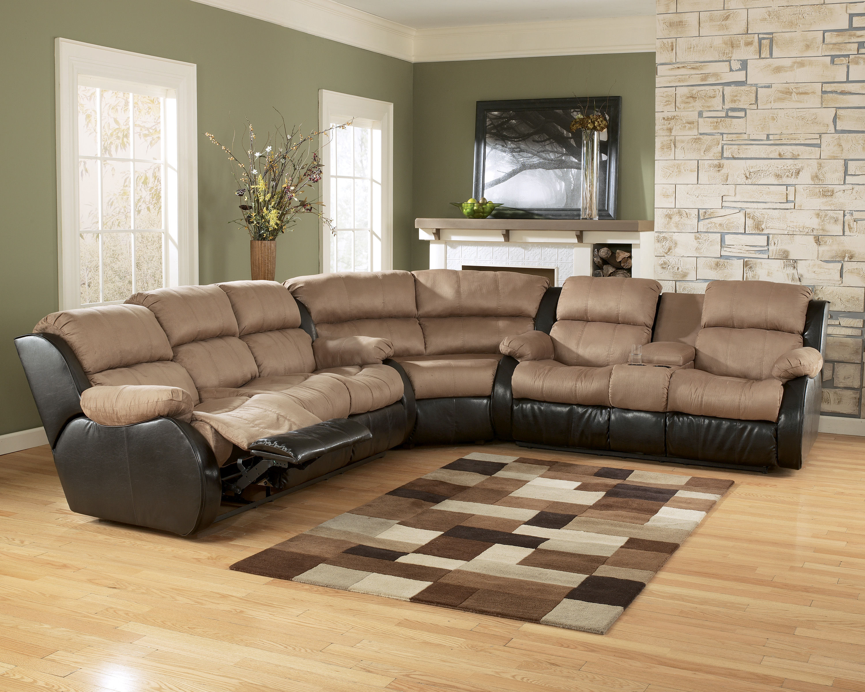 Presley - Cocoa Reclining Sectional w/ Sofa w/ DDT/Massage ...