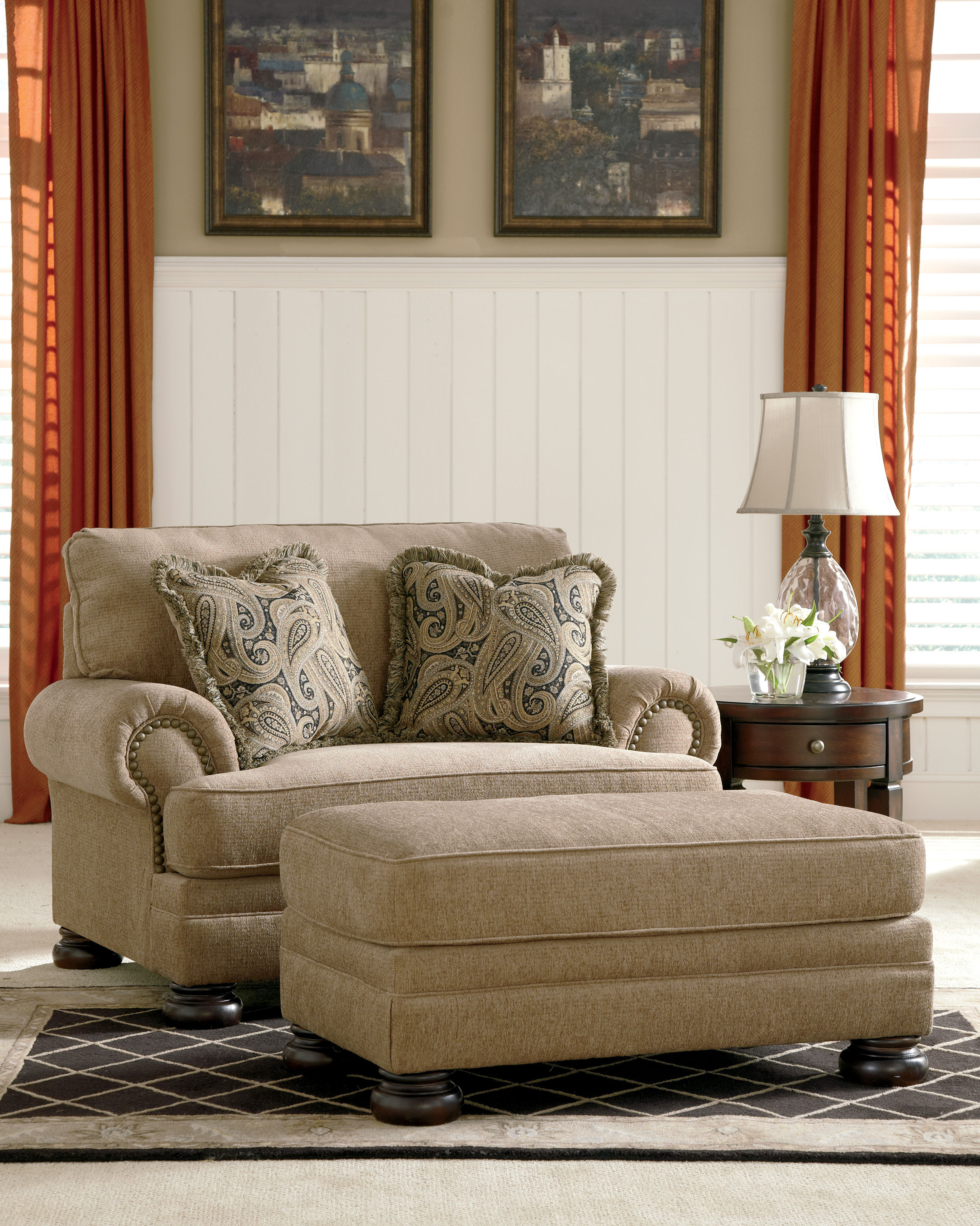 Ashley furniture keereel sand chair and ottoman set click to enlarge