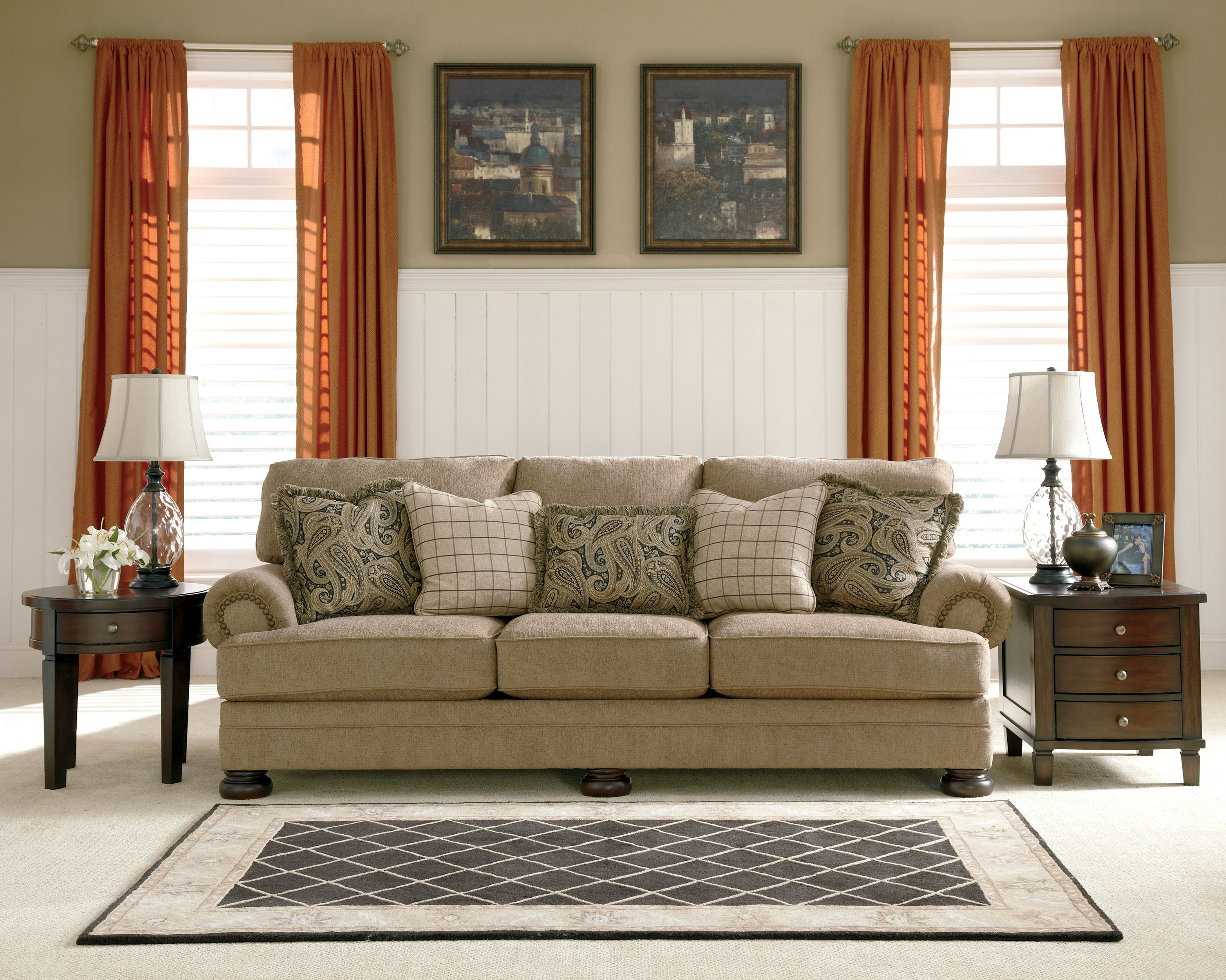 Click To Enlarge Click To Enlarge. Keereel Traditional Sand Fabric Sofa W nail Head Trim   Living