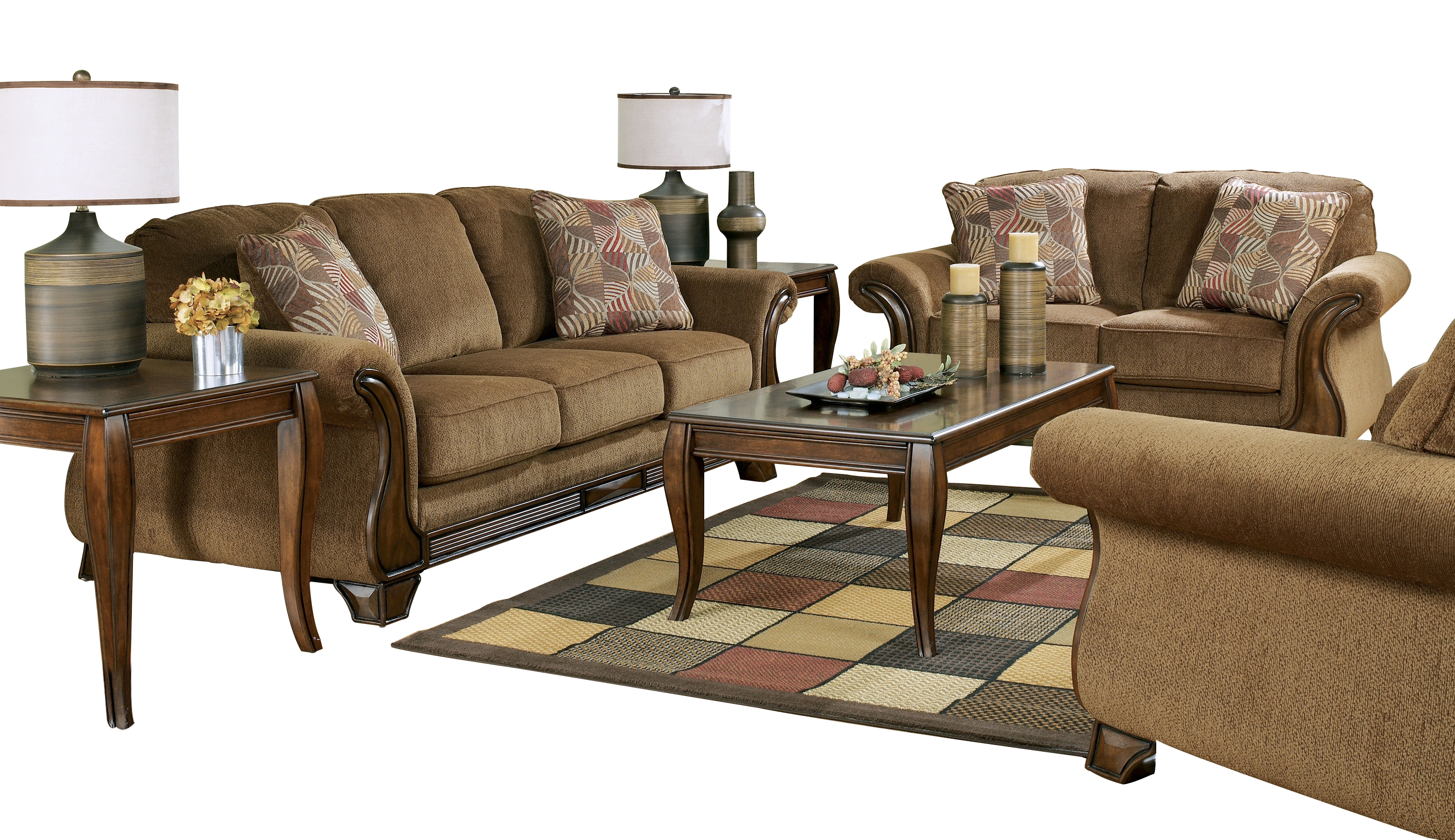 Ashley furniture montgomery mocha 3pc living room set the classy home for Montgomery mocha living room set