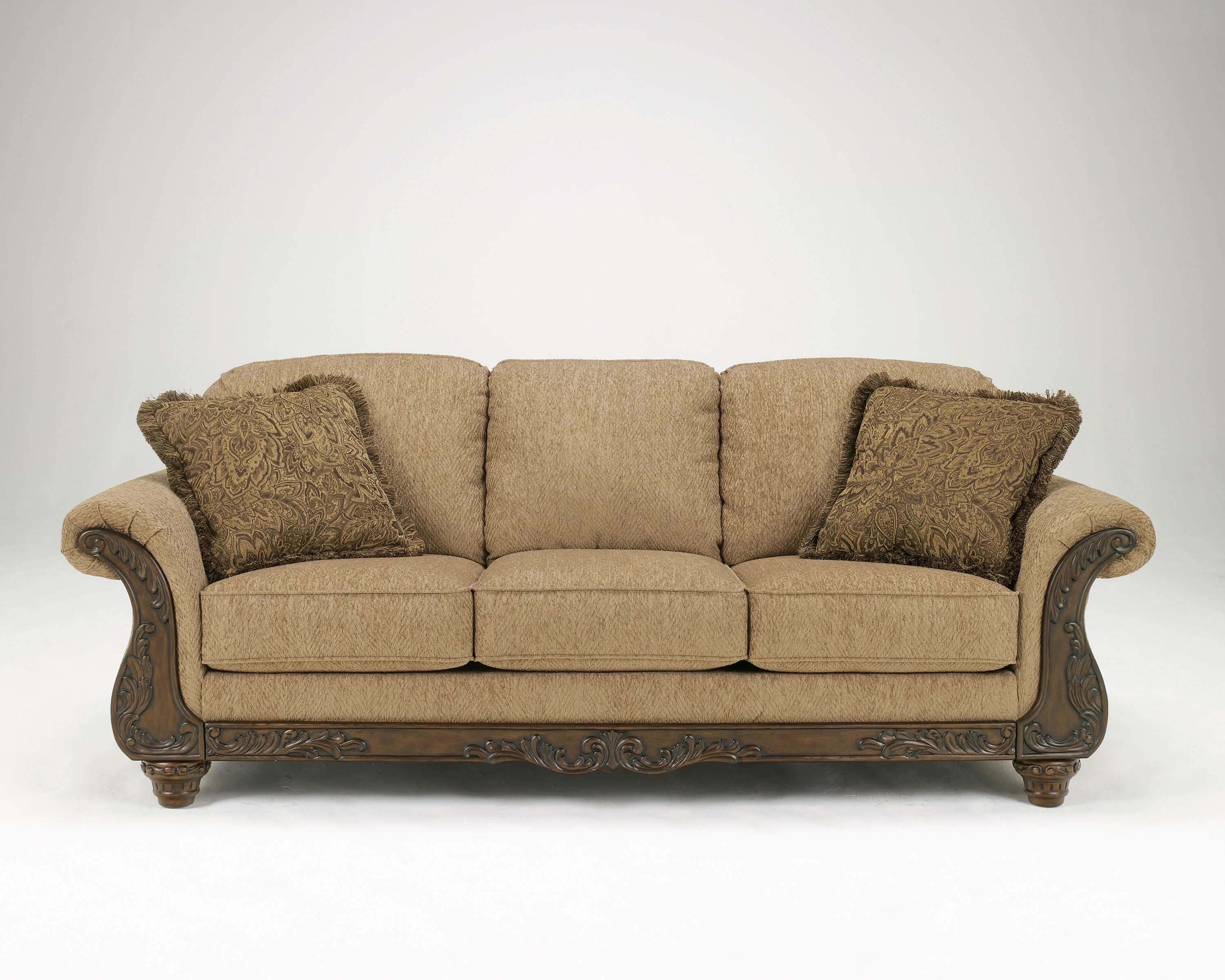 Cambridge Traditional Amber Fabric Wood Sofa