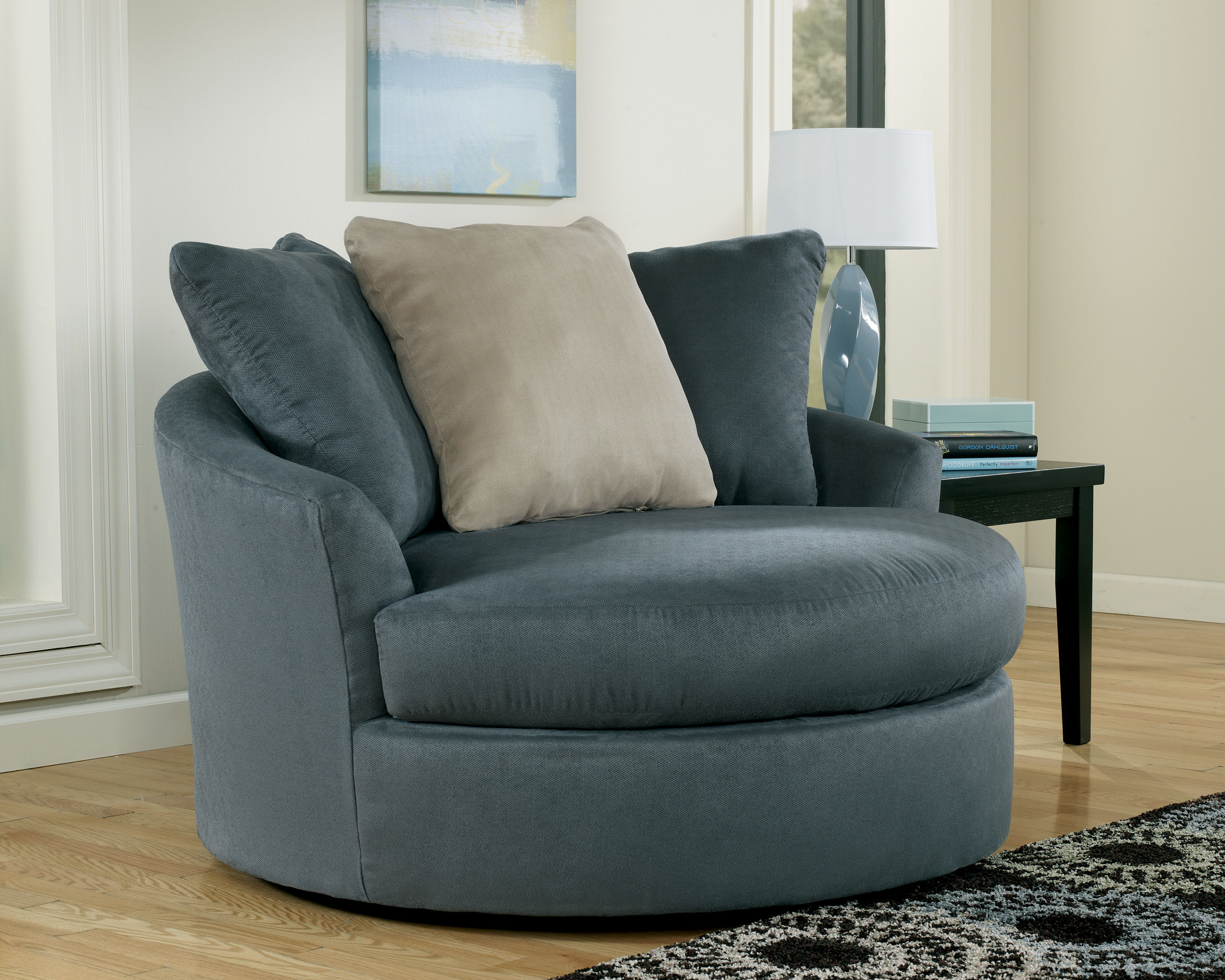 Mindy Indigo Oversized Swivel Accent Chair