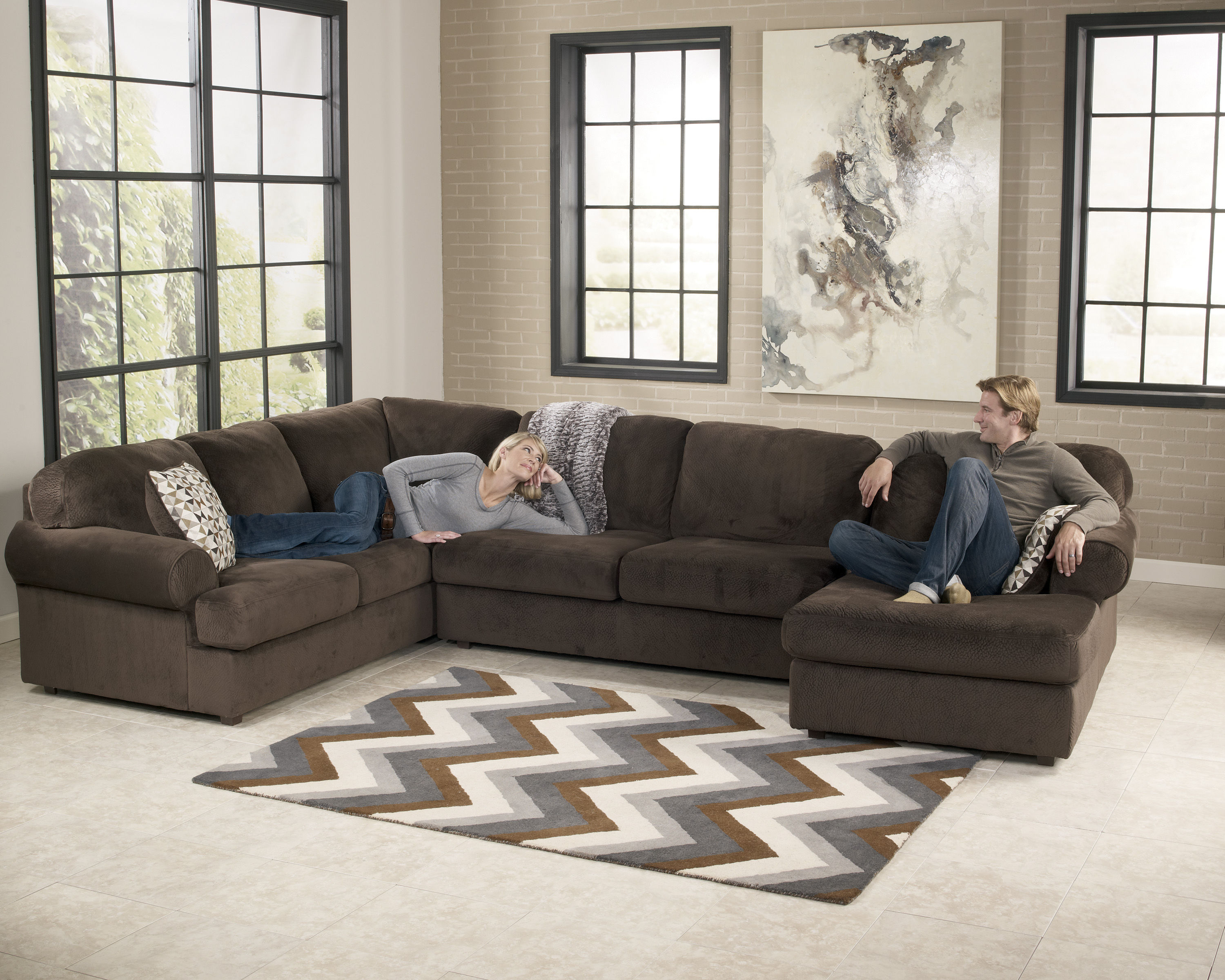 Jessa Place Chocolate Sectional Right Side Chaise