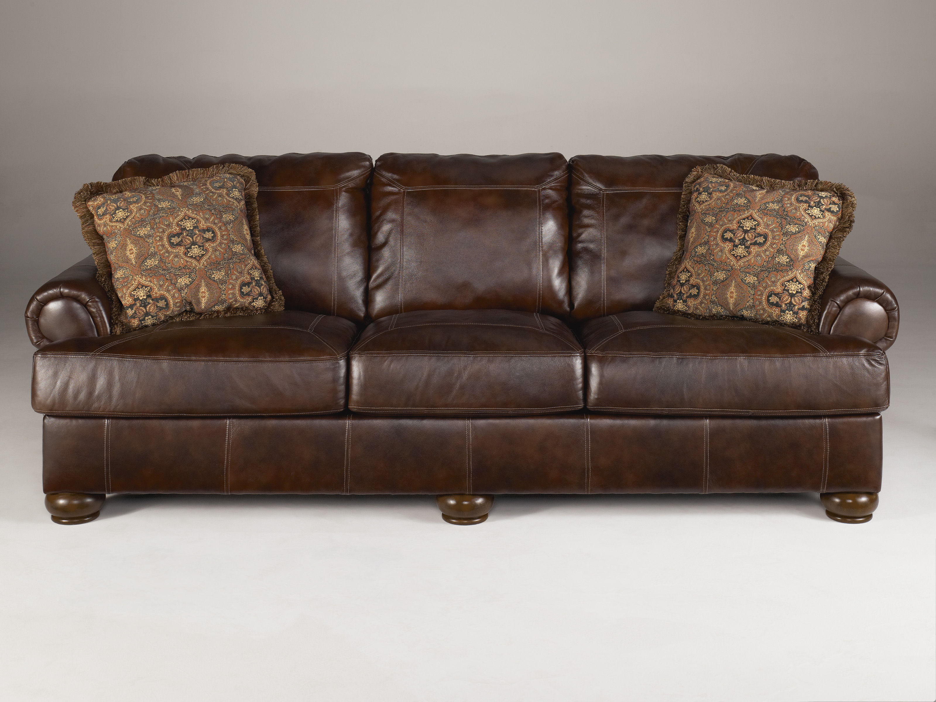 Axiom Traditional Walnut Leather Wood Sofa Living Rooms