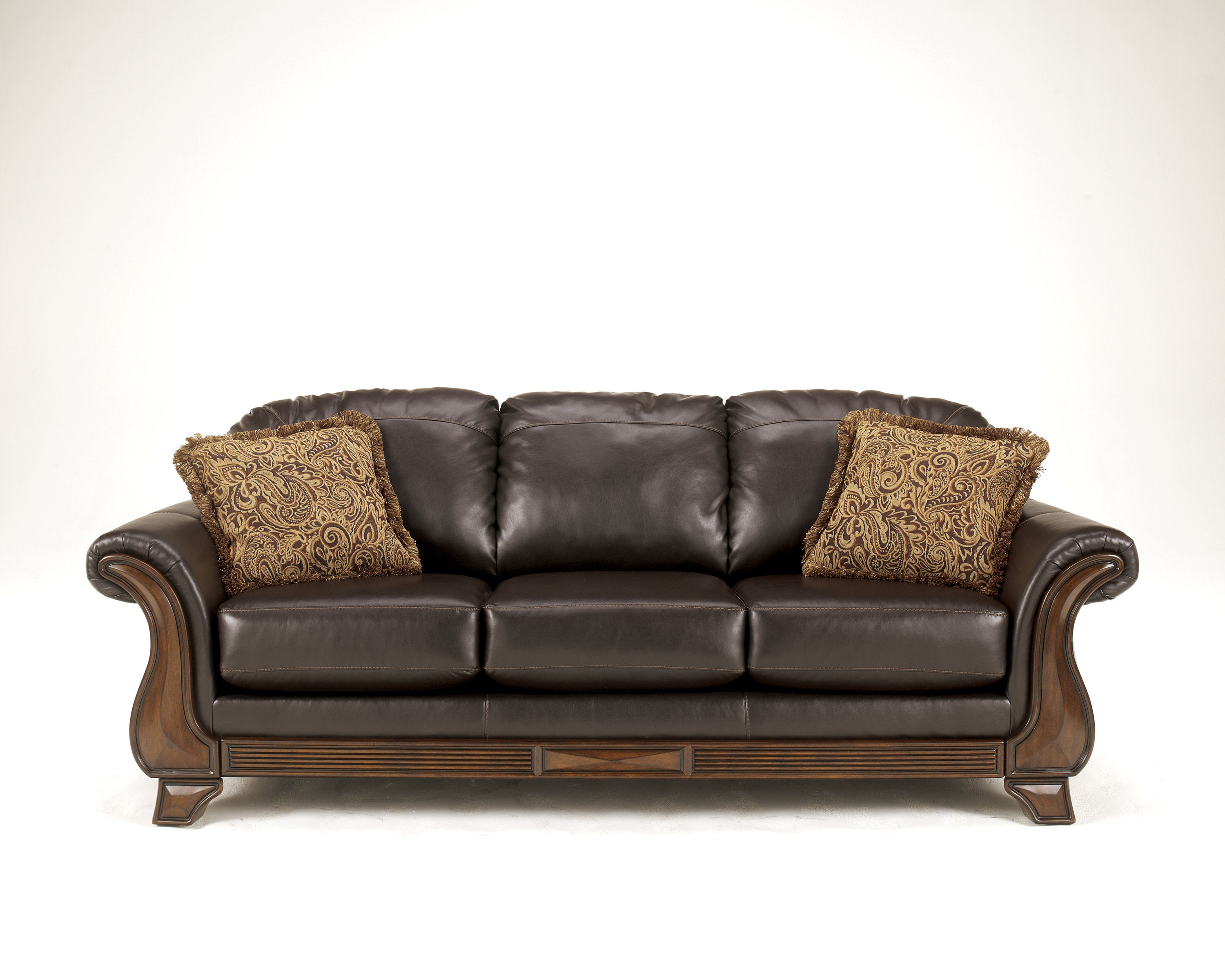 Riverton Traditional Java Pu Wood Cushion Back Sofa The