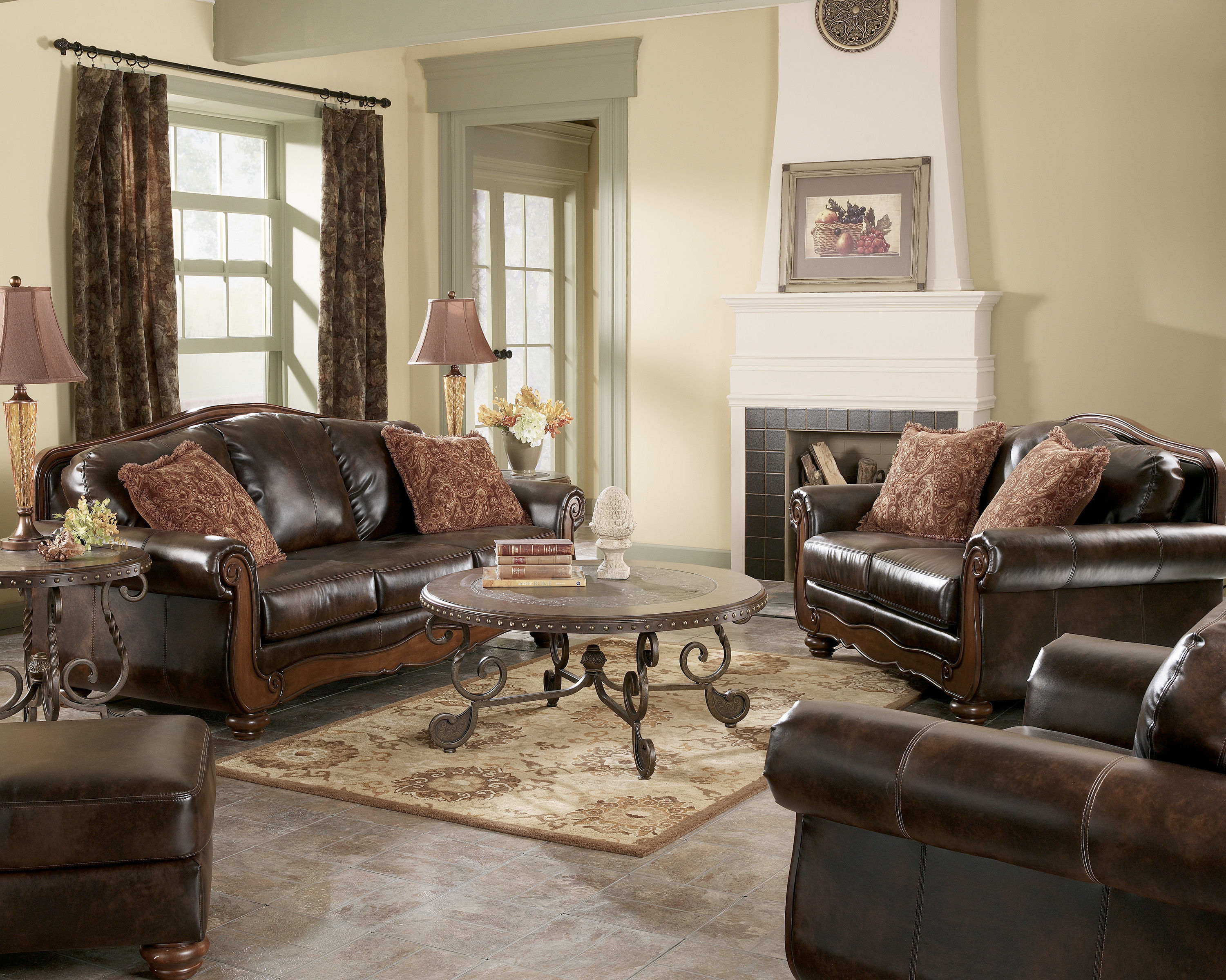 Barcelona traditional antique faux leather living room set for Best living room set deals