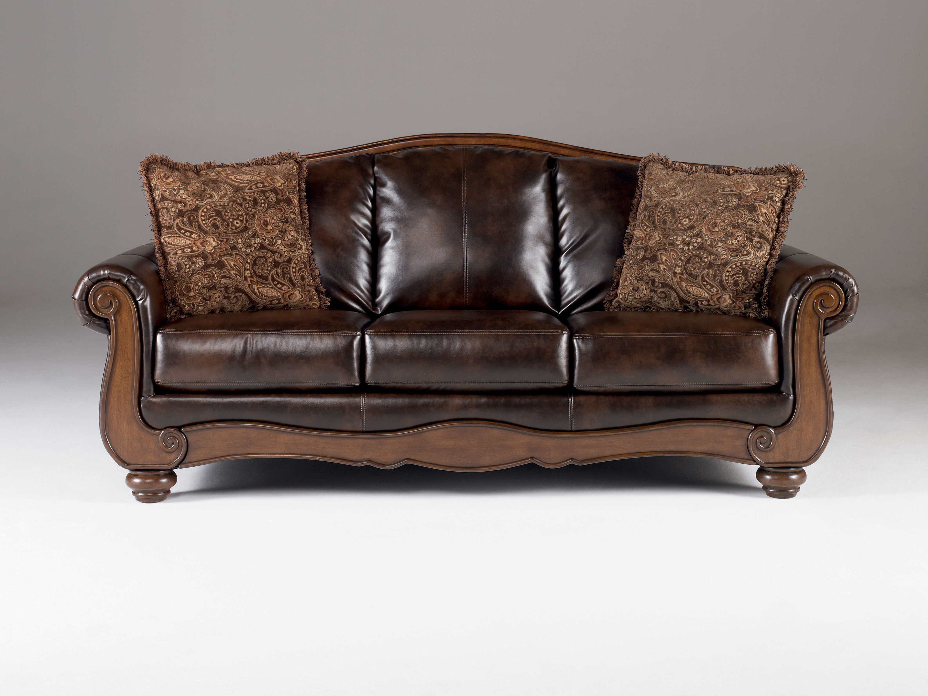 Bon Barcelona Traditional Antique Faux Leather Sofa W/cushion Back Click To  Enlarge ...