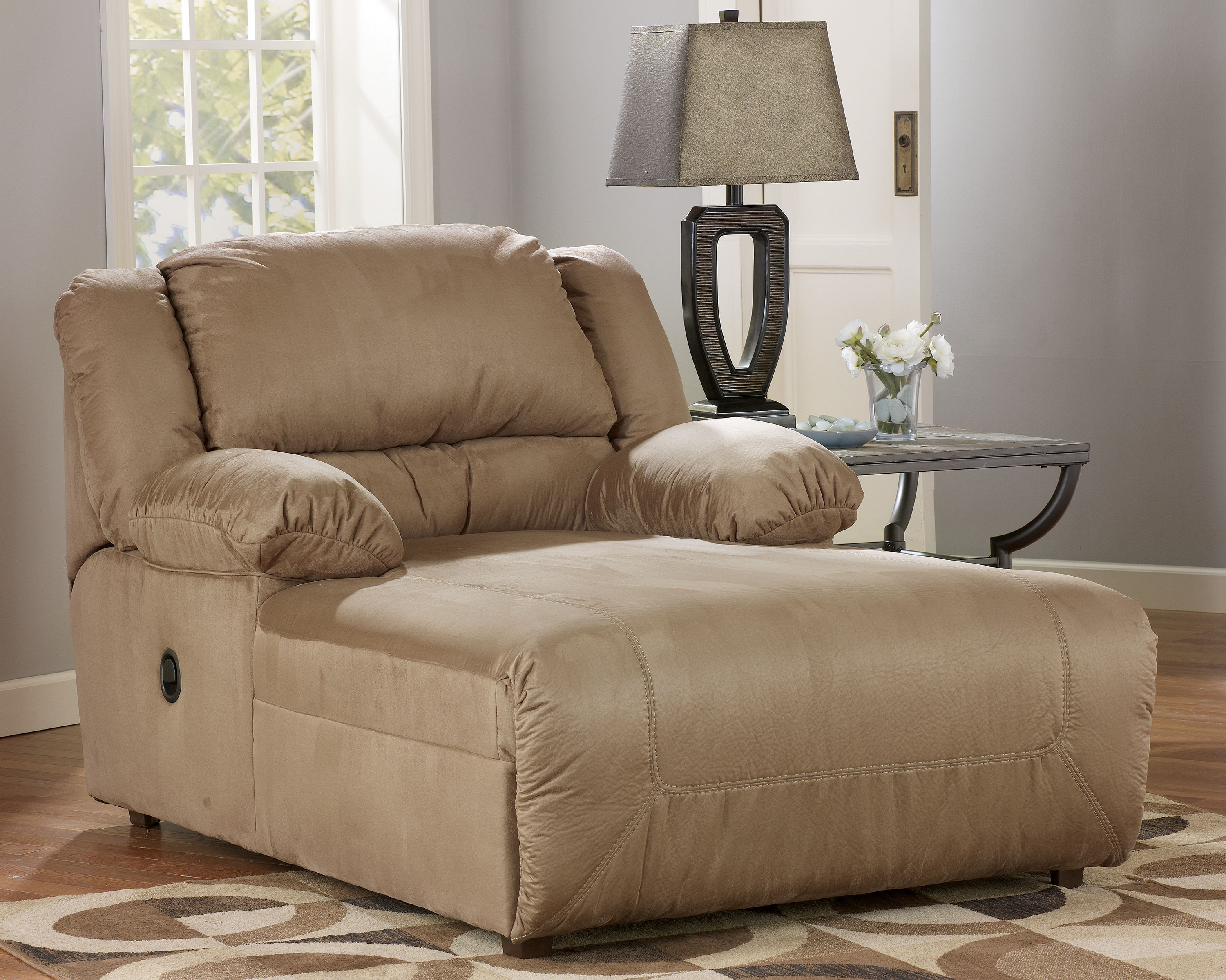 hogan contemporary mocha fabric pressback chaise w cushion back