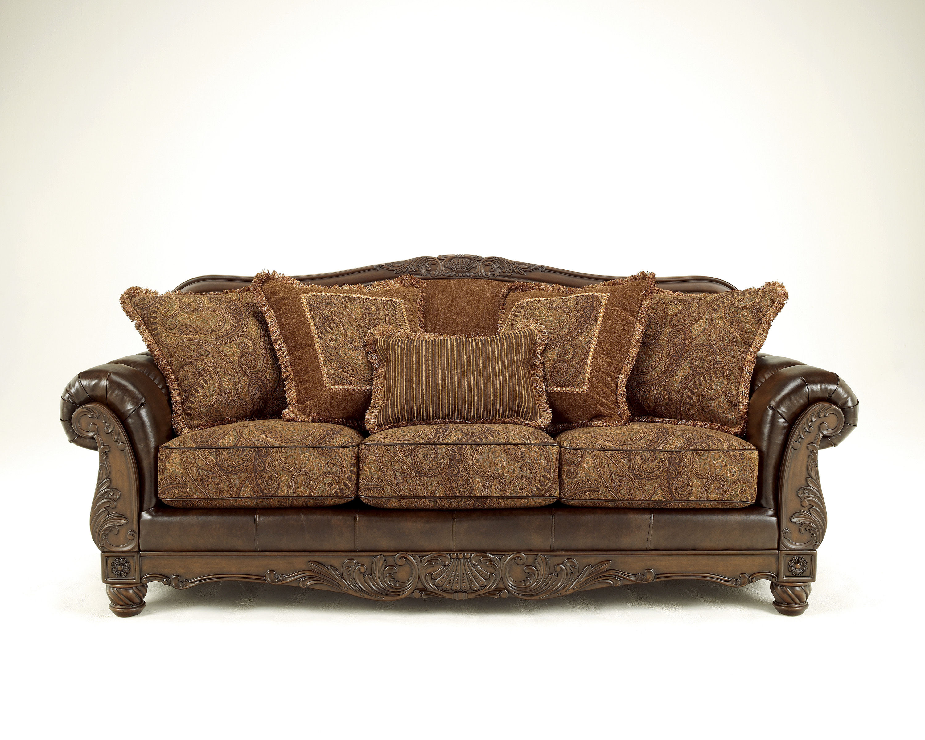Fresco DuraBlend Traditional Antique Fabric Sofa Living Rooms