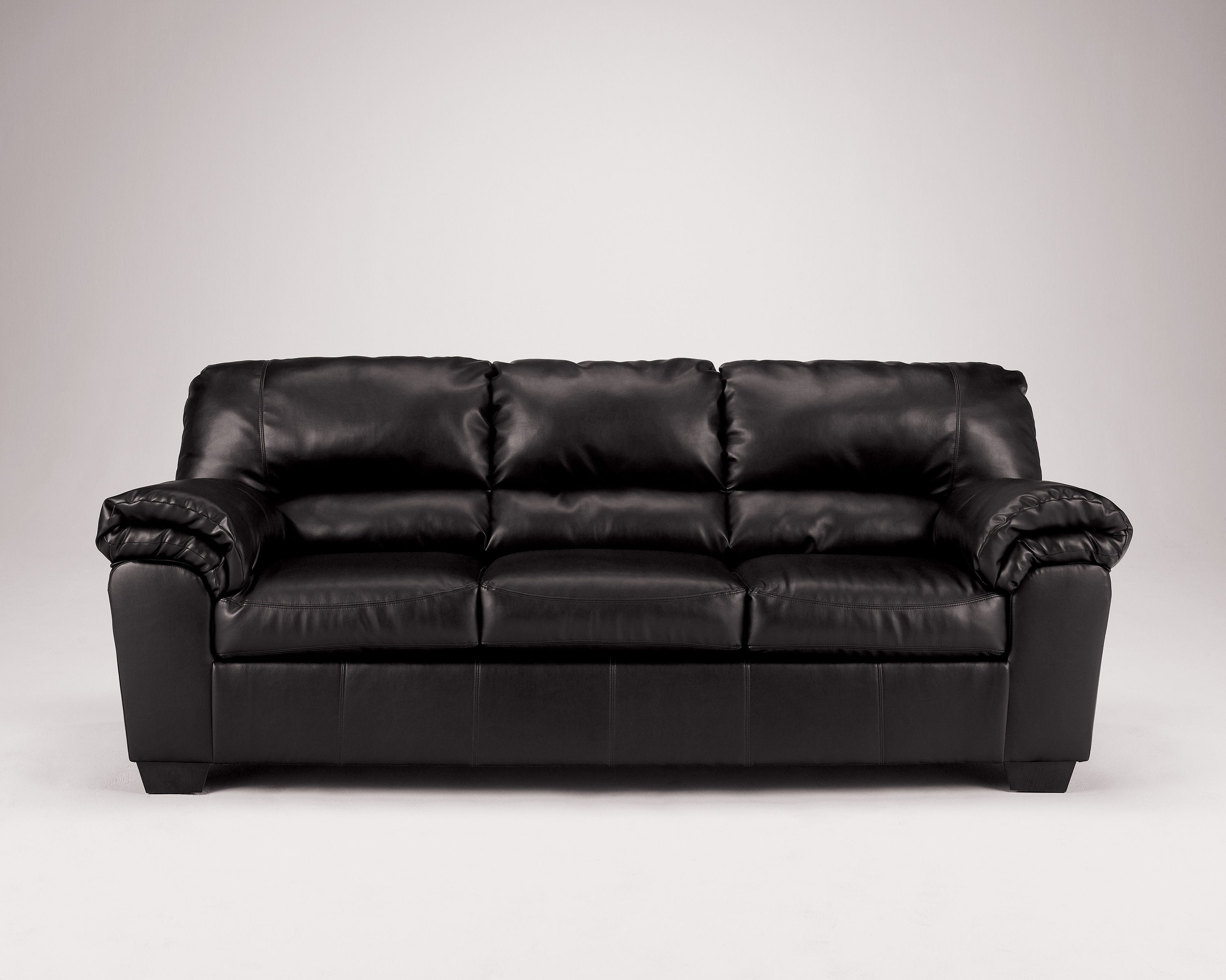 Commando Contemporary Black Faux Leather Sofa   Living Rooms   The ...