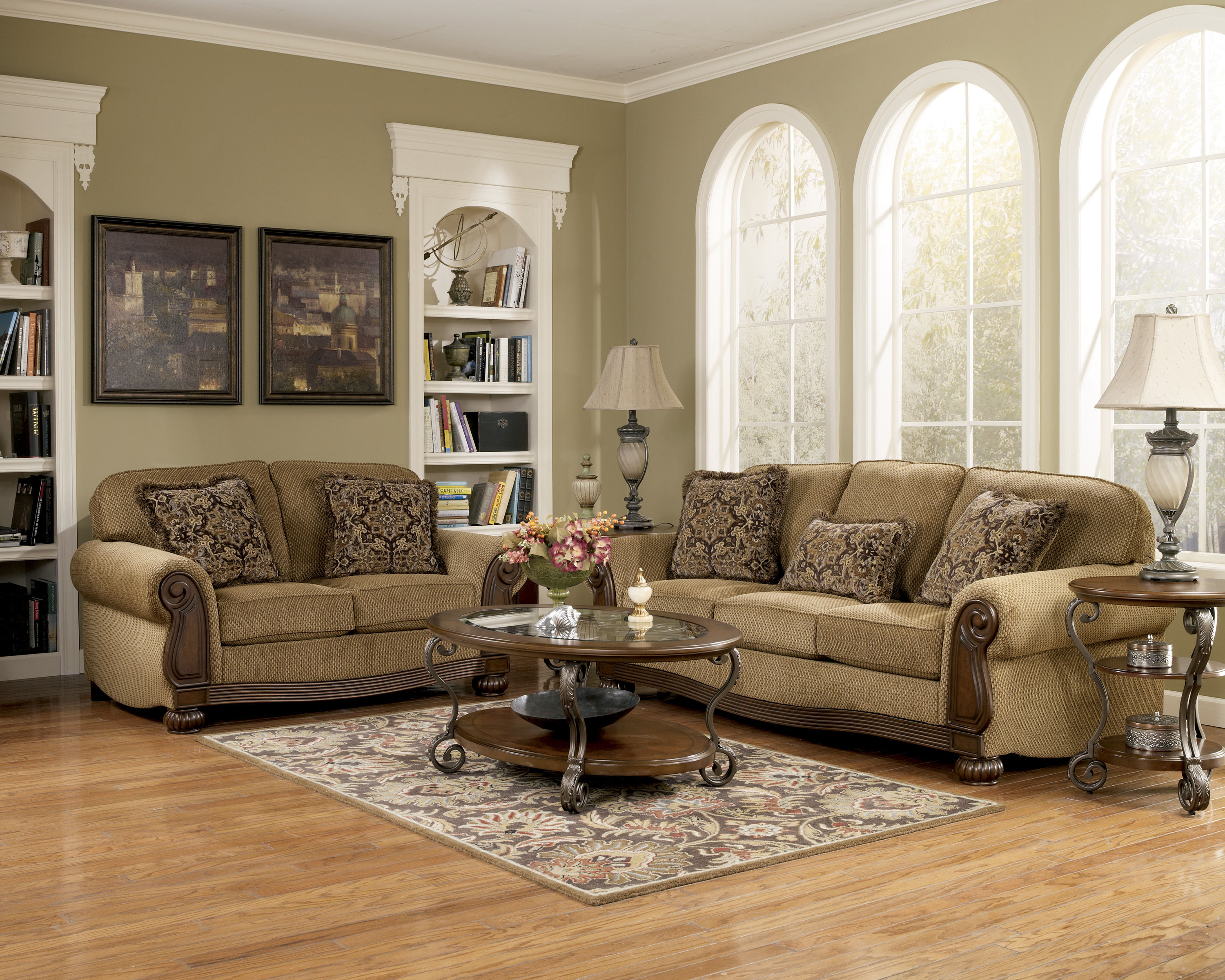 Nestor Traditional Brown Glass Wood Metal Coffee Table Set Occasional Tables The Classy Home