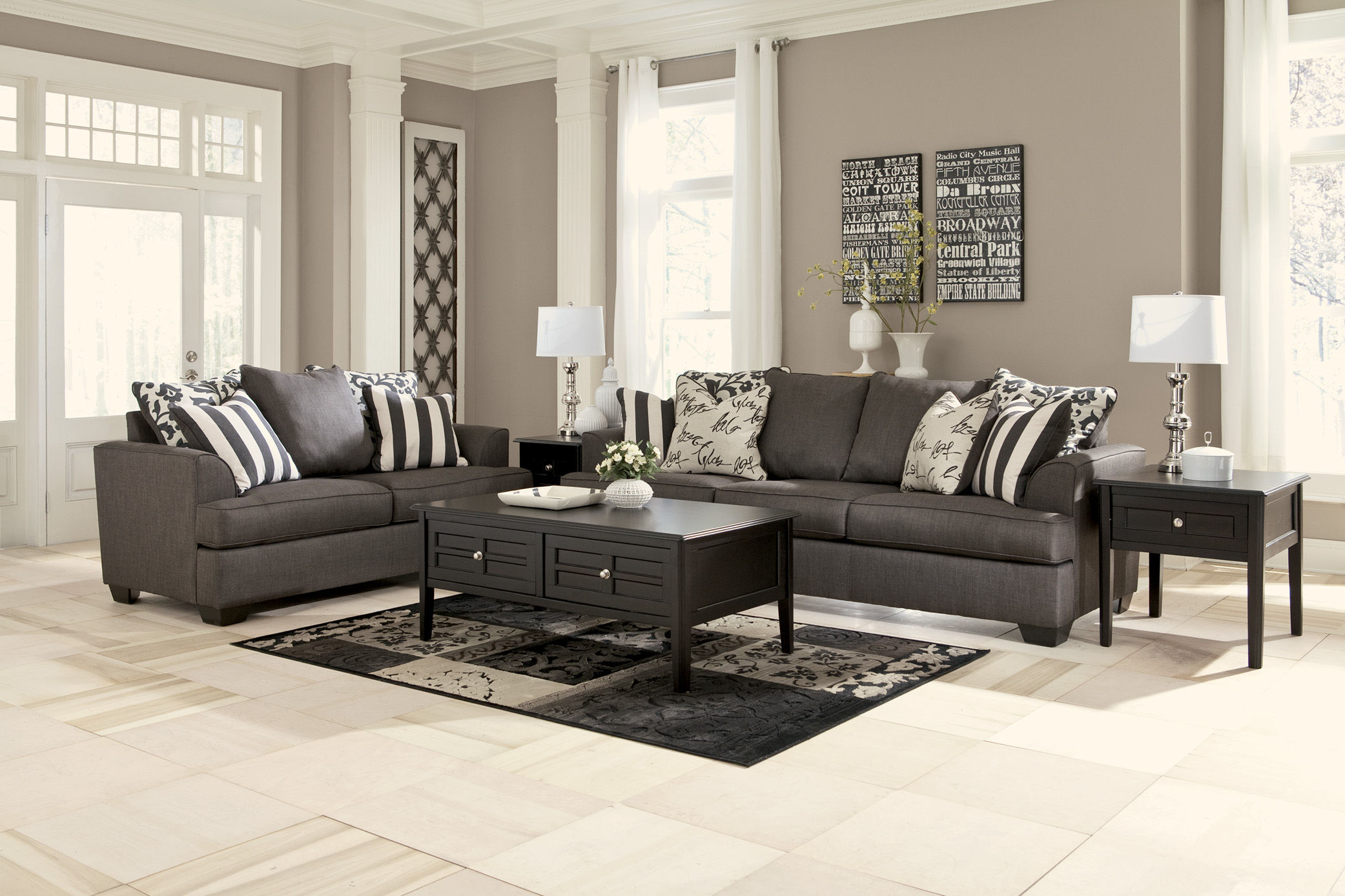 Levon contemporary charcoal fabric living room set for Best living room set deals